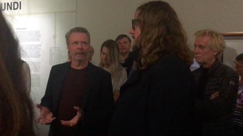 Hans van der Ham talks with Johan Tahon in Museum Boijmans Van Beuningen