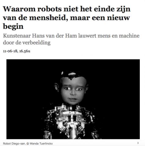 De Morgen about ANIMA MUNDI Museum Boijmans Van Beuningen