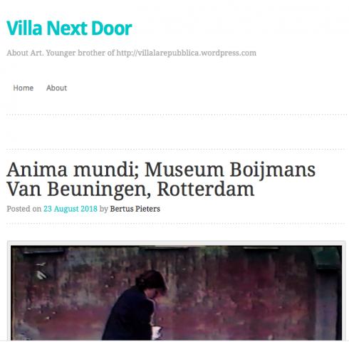 Villa Next Door about ANIMA MUNDI Museum Boijmans Van Beuningen
