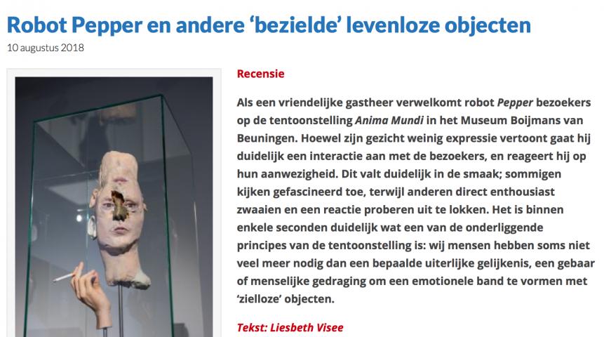 Digitale Kunstkrant about ANIMA MUNDI Museum Boijmans Van Beuningen