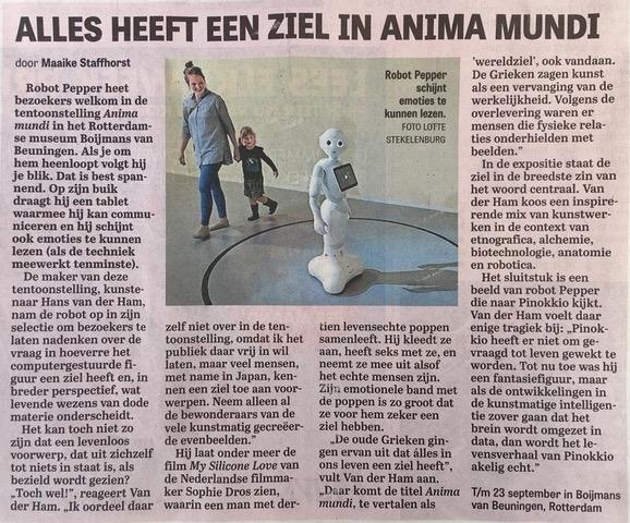 De Telegraaf about ANIMA MUNDI Museum Boijmans Van Beuningen