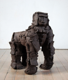 n.t. 2008, fired black clay, height 102cm, 2008, private collection Germany