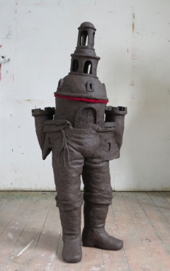 z.t. 2015 fired black clay H: 142 cm