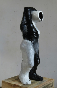 n.t. 2014 fired black clay/paint H: 101 cm