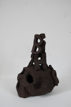 Rebirth 2009 fired black clay H: 33 cm
