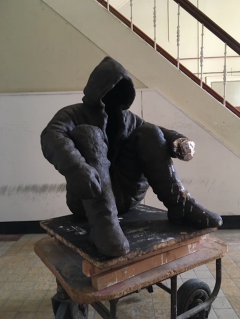 'the alchemist II'  2018/20 fired black clay / glaze H: 80 cm